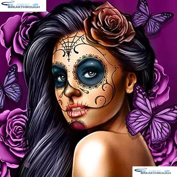 "HOMFUN Full Square/Round Drill 5D DIY Diamond Painting ""Skull girl"" 3D Embroidery Cross Stitch 5D Home Decor A07414"