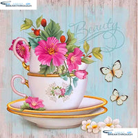 "HOMFUN Full Square/Round Drill 5D DIY Diamond Painting ""Flower teacup"" 3D Diamond Embroidery Cross Stitch Home Decor A19258"