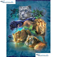 "HOMFUN Full Square/Round Drill 5D DIY Diamond Painting ""Animal tiger lion"" Embroidery Cross Stitch 3D Home Decor Gift A16915"