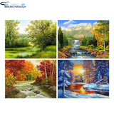 "HOMFUN 3D DIY Diamond Embroidery ""Four seasons scenery"" Picture of Rhinestones Diamond Painting Cross Stitch Needlework Decor"