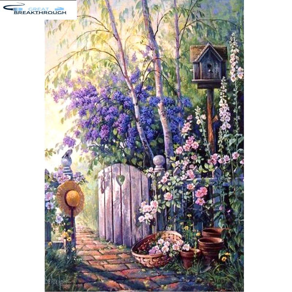 "HOMFUN Art 5D Diy Diamond Painting ""Garden scenery Landscape"" Diamond Pictures Cross Stitch 3D Rhinestone Embroidery Home Decor"