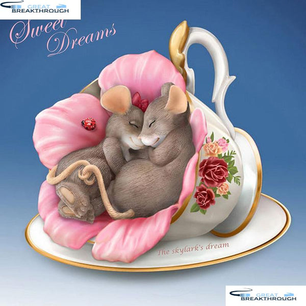 "HOMFUN Full Square/Round Drill 5D DIY Diamond Painting ""Cup mouse"" 3D Embroidery Cross Stitch 5D Decor Gift A13112"