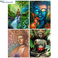 "HOMFUN 3D Diamond Painting ""Religious Buddha"" DIY Full Rhinestones Drill Cross-stitch Kits Square Round Diamond Embroidery"