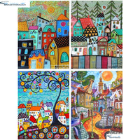 "HOMFUN Full Square/Round Drill 5D DIY Diamond Painting ""Abstract house"" 3D Embroidery Cross Stitch 5D Home Decor Gift"