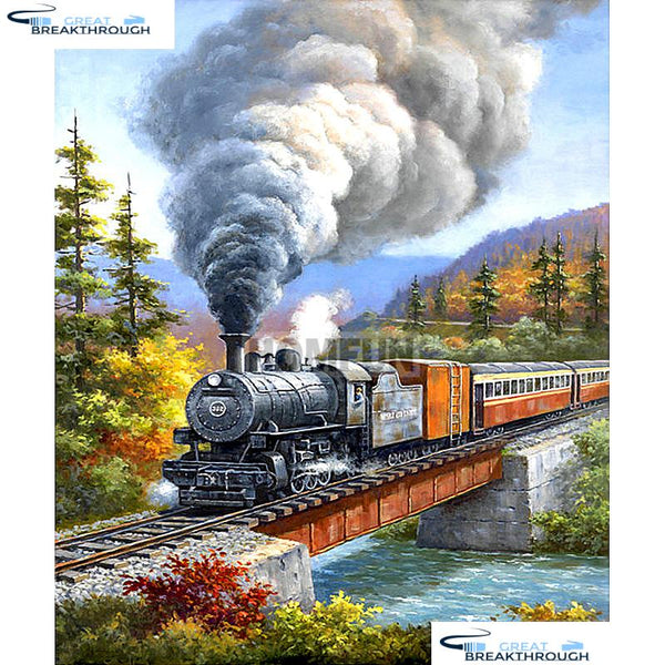 "HOMFUN Full Square/Round Drill 5D DIY Diamond Painting ""Train landscape"" Embroidery Cross Stitch 5D Home Decor Gift A01809"