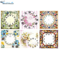 "HOMFUN Full Square/Round Drill 5D DIY Diamond Painting ""Flower clock landscape"" 3D Embroidery Cross Stitch 5D Home Decor Gift"