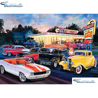 "HOMFUN Full Square/Round Drill 5D DIY Diamond Painting ""Car scenery"" 3D Embroidery Cross Stitch 5D Home Decor A13051"