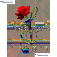 "HOMFUN Full Square/Round Drill 5D DIY Diamond Painting ""Music rose flower"" 3D Diamond Embroidery Cross Stitch Home Decor A21360"