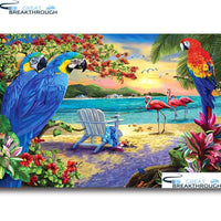 "HOMFUN Full Diamond ""Bird flower landscape""DIY 5D Diamond Painting Cross Stitch Home Decor Picture Of Rhinestone Handmade A27532"