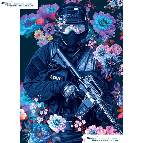 "HOMFUN Full Square/Round Drill 5D DIY Diamond Painting ""Flower police"" Embroidery Cross Stitch 5D Home Decor Gift A14130"