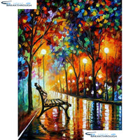 "HOMFUN Full Square/Round Drill 5D DIY Diamond Painting ""Oil painting road"" Embroidery Cross Stitch 5D Home Decor Gift A15869"