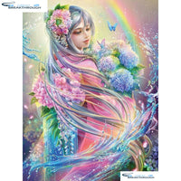 "HOMFUN Full Square/Round Drill 5D DIY Diamond Painting ""Flower Fairy"" 3D Embroidery Cross Stitch 5D Decor Gift A00561"
