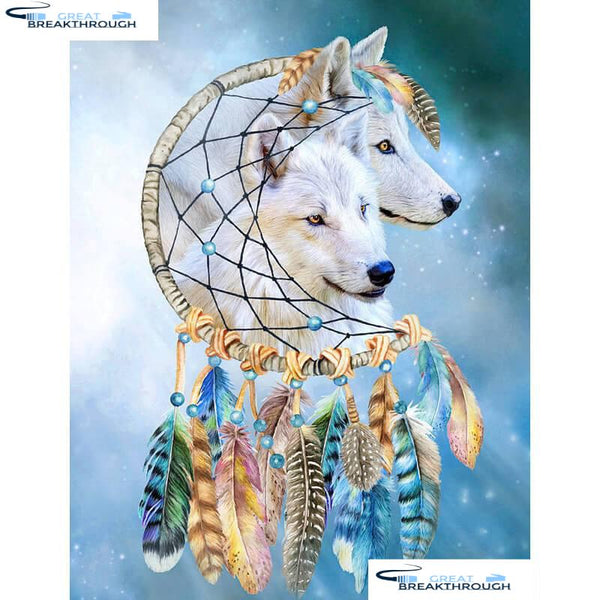 "HOMFUN Full Square/Round Drill 5D DIY Diamond Painting ""Dream wolf"" 3D Diamond Embroidery Cross Stitch Home Decor A18510"