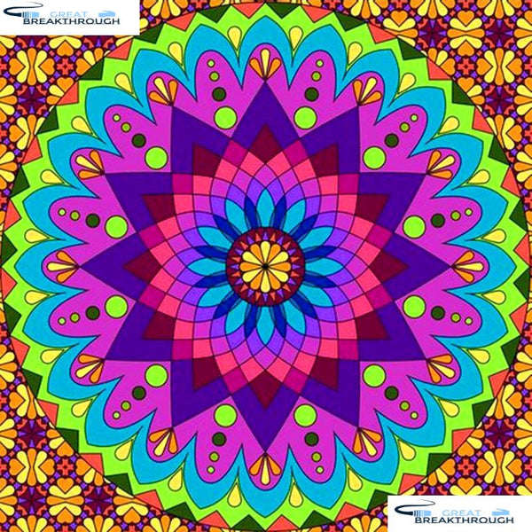 "HOMFUN Full Square/Round Drill 5D DIY Diamond Painting ""Religious Mandala"" 3D Diamond Embroidery Cross Stitch Home Decor A20263"
