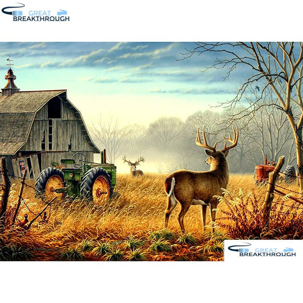 "HOMFUN Full Square/Round Drill 5D DIY Diamond Painting ""Deer & tractor"" Embroidery Cross Stitch 5D Home Decor Gift A07543"