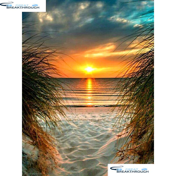 "HOMFUN Full Square/Round Drill 5D DIY Diamond Painting ""Seaside sunset"" Embroidery Cross Stitch 5D Home Decor Gift A08438"