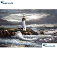 "HOMFUN Full Square/Round Drill 5D DIY Diamond Painting ""Sea lighthouse"" 3D Diamond Embroidery Cross Stitch Home Decor A19050"