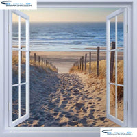 "HOMFUN Full Square/Round Drill 5D DIY Diamond Painting ""Window beach"" 3D Embroidery Cross Stitch 5D Home Decor Gift A17114"