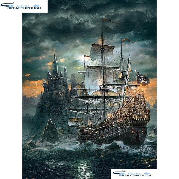 "HOMFUN Full Square/Round Drill 5D DIY Diamond Painting ""Skull pirate ship"" Embroidery Cross Stitch 5D Home Decor Gift A01632"