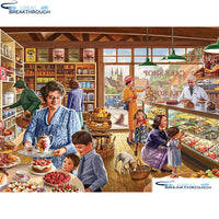 "HOMFUN Full Square/Round Drill 5D DIY Diamond Painting ""The Cake Shop"" 3D Embroidery Cross Stitch 5D Home Decor A00809"