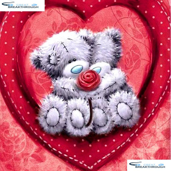 "HOMFUN Full Square/Round Drill 5D DIY Diamond Painting ""Bear heart"" 3D Embroidery Cross Stitch 5D Home Decor A13469"