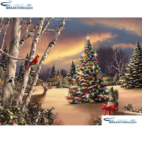 "HOMFUN Full Square/Round Drill 5D DIY Diamond Painting ""Christmas tree"" Embroidery Cross Stitch 5D Home Decor Gift A16491"