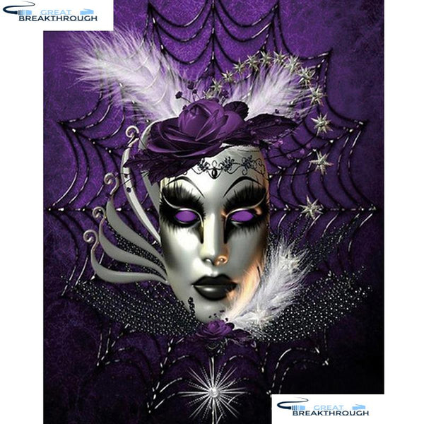 "HOMFUN Full Square/Round Drill 5D DIY Diamond Painting ""Flower mask"" 3D Diamond Embroidery Cross Stitch Home Decor A18642"