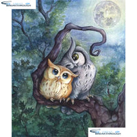 "HOMFUN Full Square/Round Drill 5D DIY Diamond Painting ""Cartoon owl"" 3D Embroidery Cross Stitch 5D Home Decor A17614"