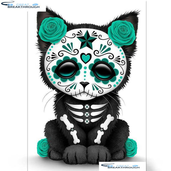 "HOMFUN Full Square/Round Drill 5D DIY Diamond Painting ""Skull cat"" Embroidery Cross Stitch 5D Home Decor Gift A01452"