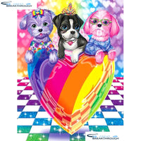 "HOMFUN Full Square/Round Drill 5D DIY Diamond Painting ""Dog heart"" Embroidery Cross Stitch 5D Home Decor Gift A14758"