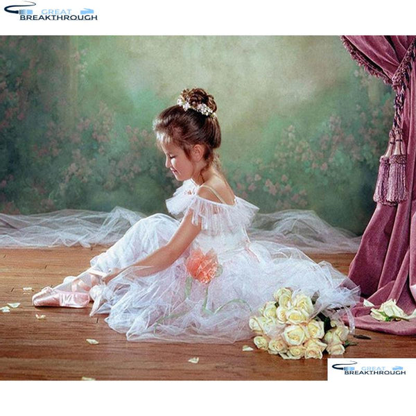 "HOMFUN Full Square/Round Drill 5D DIY Diamond Painting ""Ballet girl flower"" Embroidery Cross Stitch 3D Home Decor Gift A00750"