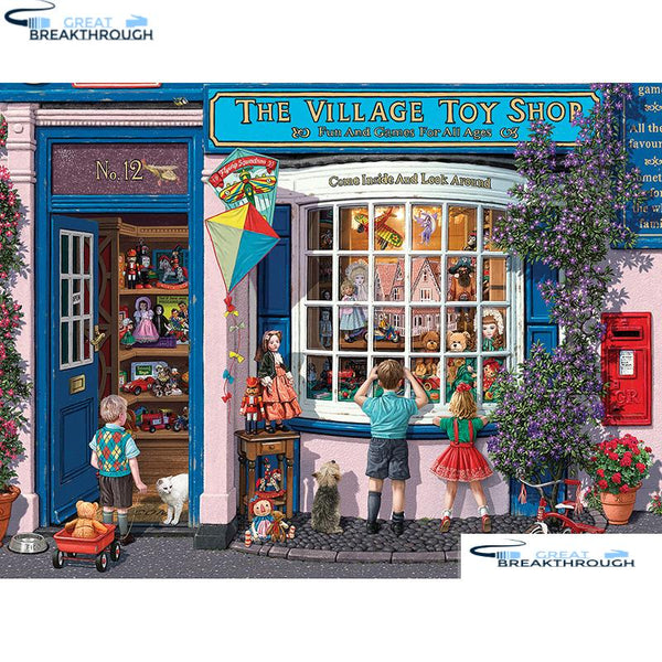 "HOMFUN Full Square/Round Drill 5D DIY Diamond Painting ""Village Toy Shop"" 3D Embroidery Cross Stitch 5D Home Decor A00778"