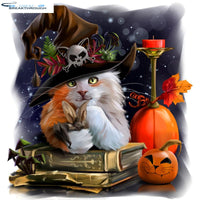 "HOMFUN Diy 5d Diamond Painting "" Halloween pumpkin cat"" Cross Stitch Square Round Diamond Embroidery Handwork Rhinestone Art"