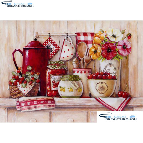 "HOMFUN 5D Diamond Embroidery Needlework Kit ""Flowers & cutlery"" Diy Diamond Painting Cross Stitch Home Decoration Gift A00327"