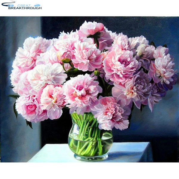 "HOMFUN Art 5D Diy Diamond Painting ""Pink flower"" Diamond Pictures Cross Stitch 3D Rhinestone Embroidery Home Decor A30001"