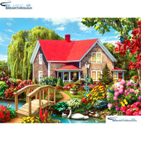 "HOMFUN Full Square/Round Drill 5D DIY Diamond Painting ""Garden & house"" Embroidery Cross Stitch 5D Home Decor Gift A01693"