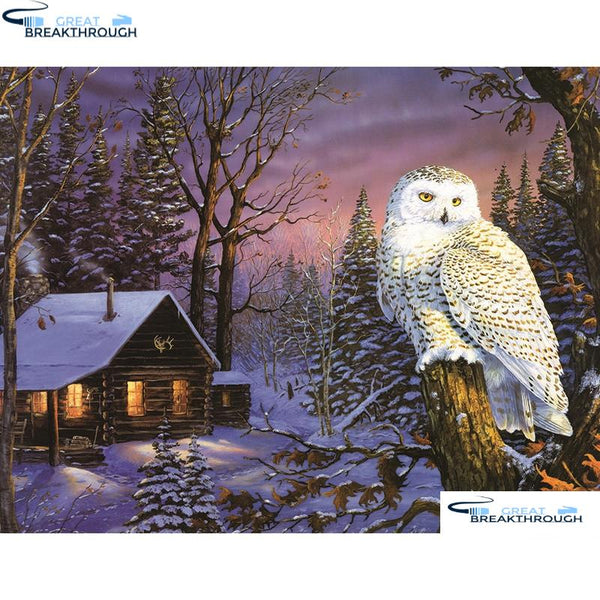 "HOMFUN 5D DIY Diamond Embroidery Full Display ""House owl scenery"" Diamond Painting Square/Round Rhinestones Decor Art A27590"