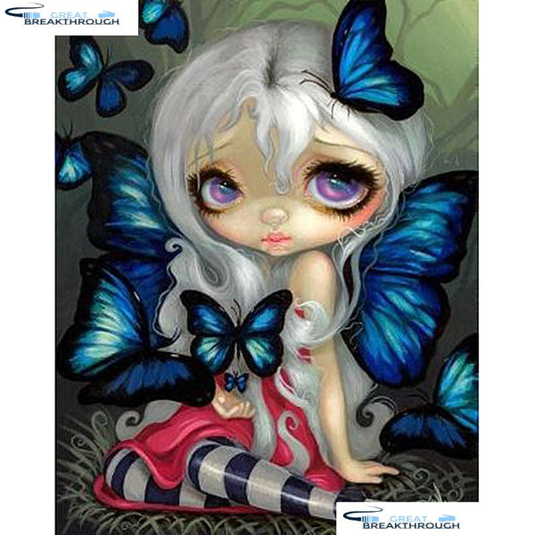 "HOMFUN Full Square/Round Drill 5D DIY Diamond Painting ""Butterfly girl"" Embroidery Cross Stitch 3D Home Decor Gift A14667"