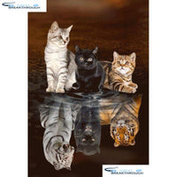 "HOMFUN Full Square/Round Drill 5D DIY Diamond Painting ""Animal cat"" Embroidery Cross Stitch 5D Home Decor Gift A18380"