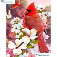 "HOMFUN Full Square/Round Drill 5D DIY Diamond Painting ""Birds and flowers"" 3D Diamond Embroidery Cross Stitch Home Decor A21352"