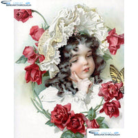 "HOMFUN Full Square/Round Drill 5D DIY Diamond Painting ""Flower girl"" Embroidery Cross Stitch 5D Home Decor Gift A17872"