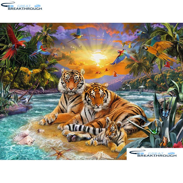 "HOMFUN Full Square/Round Drill 5D DIY Diamond Painting ""Tiger Family"" 3D Embroidery Cross Stitch 5D Home Decor A00918"