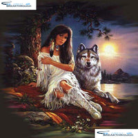 "HOMFUN Full Square/Round Drill 5D DIY Diamond Painting ""Beautiful wolf sunset"" 3D Embroidery Cross Stitch 5D Decor Gift A00905"