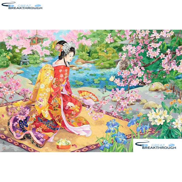 "HOMFUN Full Square/Round Drill 5D DIY Diamond Painting ""Japanese girl"" Embroidery Cross Stitch 5D Home Decor Gift A08783"