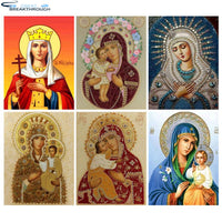"HOMFUN 5D Diamond Pattern Rhinestone Needlework Diy Diamond Painting Cross Stitch ""Religious figure"" Diamond Embroidery"