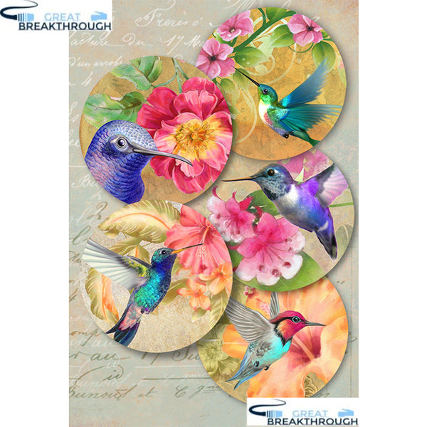 "HOMFUN Full Square/Round Drill 5D DIY Diamond Painting ""Bird flower"" Embroidery Cross Stitch 5D Home Decor Gift A30113"
