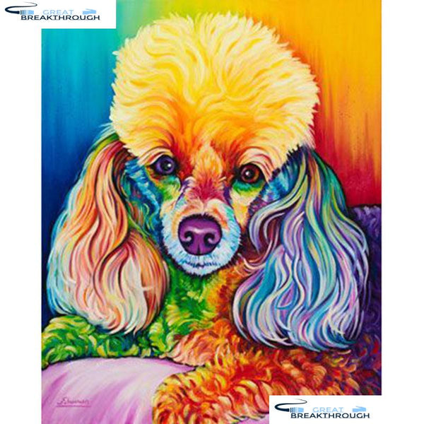 "HOMFUN Full Square/Round Drill 5D DIY Diamond Painting ""Color dog"" Embroidery Cross Stitch 5D Home Decor Gift A16580"