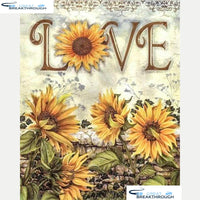 "HOMFUN Full Diamond ""Sunflower letter"" DIY 5D Diamond Painting Cross Stitch Home Decor Picture Of Rhinestone Handmade A27540"