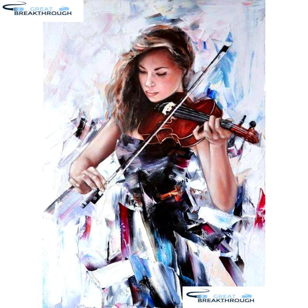"HOMFUN Full Square/Round Drill 5D DIY Diamond Painting ""Violin girl"" Embroidery Cross Stitch 5D Home Decor Gift A08720"