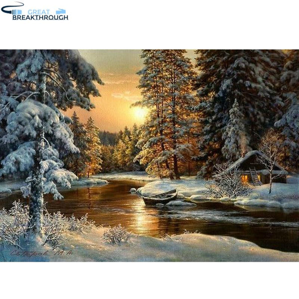 "HOMFUN Full Square/Round Drill 5D DIY Diamond Painting ""winter snow landscape "" 3D Embroidery Cross Stitch 5D Decor XY"